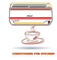 air conditioner icon for kitchen in flat line vector image