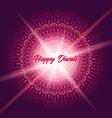 diwali greeting card with shine rangoli vector image