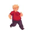 Fat boy jogging running living active life vector image