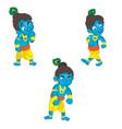 set of little krishna cartoon on a vector image