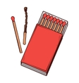 Top view red matchbox vector image