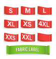 size label fabric realistic set bright vector image