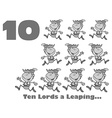 Ten lords leaping cartoon vector image