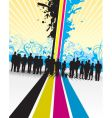 CMYK people splash with floral vector image