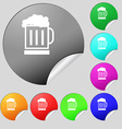 Beer glass icon sign Set of eight multi colored vector image