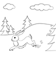 Outlined hare running in the forest vector image