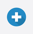plus Flat Blue Simple Icon with long shadow vector image