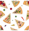 seamless pattern with slices of different pizza vector image