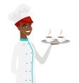 young african-american chef holding tray with cups vector image