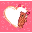valentine day card with teddy vector image