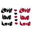 love word and heart in black red over white vector image