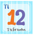 Flashcard of T is for twelve vector image vector image
