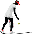 Silhouette of woman tennis player vector image