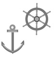 Anchor and wheel vector image