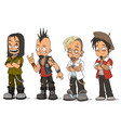 cartoon punk rock metal guys characters set vector image