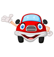Cute red car cartoon character vector image