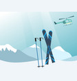 mountains helicopter and ski equipment in the vector image vector image