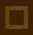 Decorative frame of gold doodle floral elements vector image