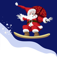 Santa Claus carrying a bag of gifts on a snowboard vector image