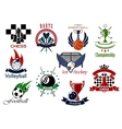 Set of sporting emblems and icons vector image vector image