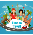 Travel Banner Happy Tourist Man with Backpack vector image