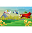 animals flying plane vector image