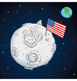 astronaut whith flag USA on the moon color vector image