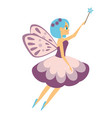 beautiful flying fairy flapping magic stick elf vector image