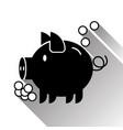 piggy bank money box silhouette black icon vector image