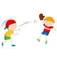 Two boys throwing and catching ball vector image