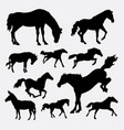 horse animal action silhouette vector image