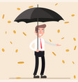 cute cartoon office worker with umbrella standing vector image