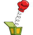 boxing glove out of the box vector image vector image