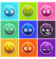 funny round fluffy characters set vector image