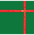 Red Ribbon on green color paper for festival vector image