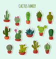 funny plants collection cute cactus with vector image
