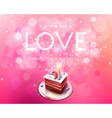 inscription love on a pink background with cake vector image