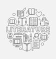 literature round vector image