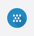 rain Flat Blue Simple Icon with long shadow vector image
