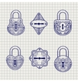 Set of hand drawn ornamental locks vector image