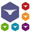 thongs icons set hexagon vector image