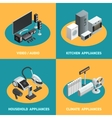 Household Appliances 4 Isometric Icons Square vector image vector image