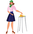Cartoon woman in green hat offering cheese samples vector image