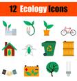 Flat design ecology icon set vector image
