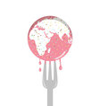 Isolated cartoon of pink sprinkle earth cake and f vector image