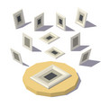 isometric lowpoly picture frame vector image