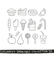 Kid hand drawing tasty food collection vector image