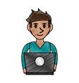 person desk doodle vector image