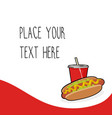Red template with hotdog and red soda cup vector image
