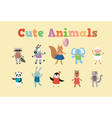 Set of Cute Animals for Childrens Party vector image